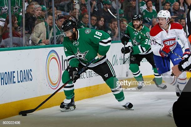Patrick Eaves of the Dallas Stars battles for the puck against the Montreal Canadiens at the American Airlines Center on December 19 2015 in Dallas...