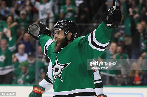 Patrick Eaves of the Dallas Stars celebrates his goal against the Minnesota Wild in the third period in Game One of the Western Conference...