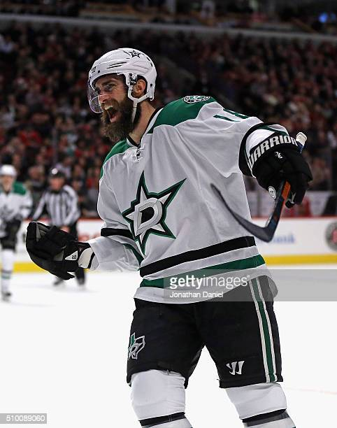 Patrick Eaves of the Dallas Stars celebrates his second goal of the game in the first period against the Chicago Blackhawks at the United Center on...