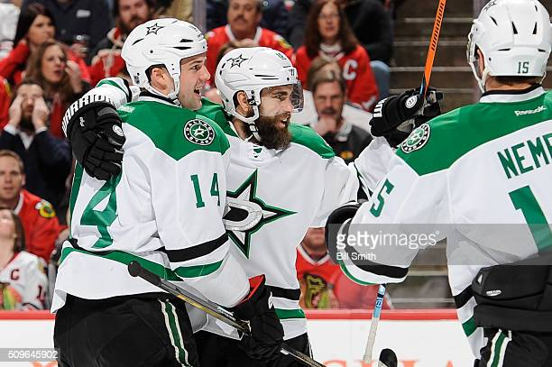 Patrick Eaves of the Dallas Stars celebrates with Jamie Benn after scoring against the Chicago Blackhawks in the first period of the NHL game at the...