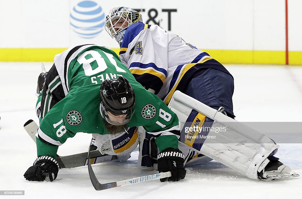 separation shoes fae4a 9223e Patrick Eaves of the Dallas Stars falls over Jake Allen of ...