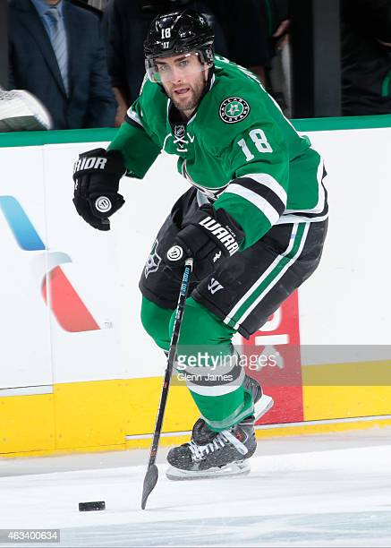 Patrick Eaves of the Dallas Stars handles the puck against the Florida Panthers at the American Airlines Center on February 13 2015 in Dallas Texas