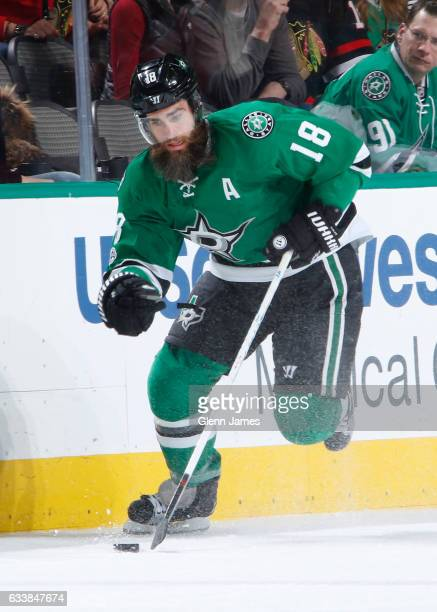 Patrick Eaves of the Dallas Stars handles the puck against the Chicago Blackhawks at the American Airlines Center on February 4 2017 in Dallas Texas
