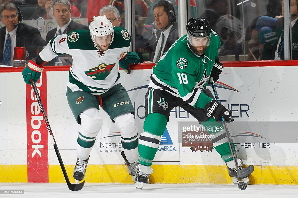 newest 2258d 373e0 Patrick Eaves of the Dallas Stars handles the puck with ...