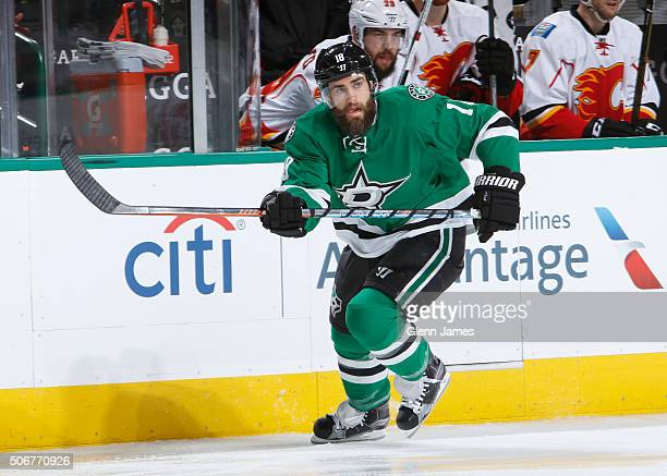 Patrick Eaves of the Dallas Stars skates against the Calgary Flames at the American Airlines Center on January 25 2016 in Dallas Texas