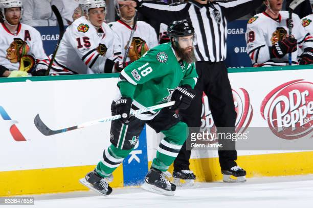 Patrick Eaves of the Dallas Stars skates against the Chicago Blackhawks at the American Airlines Center on February 4 2017 in Dallas Texas