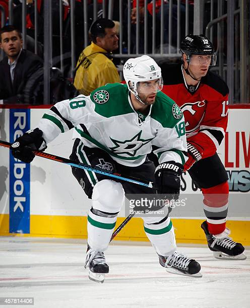 Patrick Eaves of the Dallas Stars skates against the New Jersey Devils at the Prudential Center on October 24 2014 in Newark New Jersey The Stars...