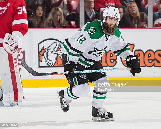 Patrick Eaves of the Dallas Stars skates up ice during an NHL game against the Detroit Red Wings at Joe Louis Arena on November 29 2016 in Detroit...