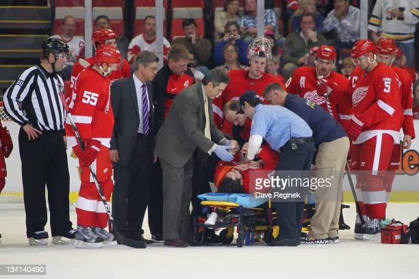 Patrick Eaves of the Detroit Red Wings is taken off the ice by stretcher after taking a slap shot to the right ear during an NHL game against the...