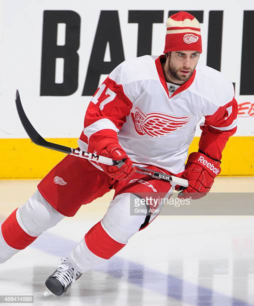 Patrick Eaves of the Detroit Red Wings skates during warm up prior to NHL game action against the Toronto Maple Leafs December 21 2013 at the Air...