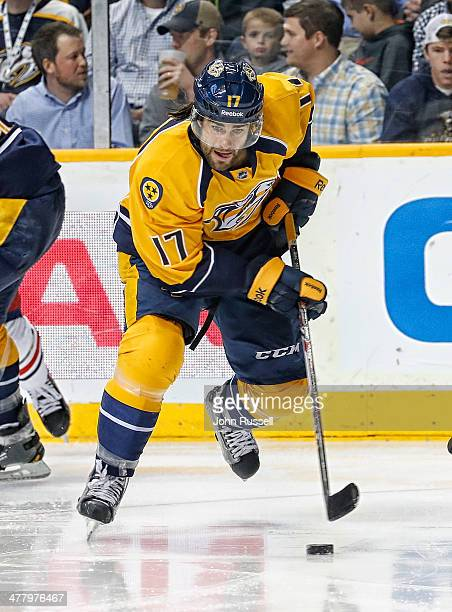 Patrick Eaves of the Nashville Predators skates against the Columbus Blue Jackets at Bridgestone Arena on March 8 2014 in Nashville Tennessee