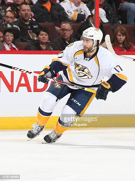 Patrick Eaves of the Nashville Predators skates against the Ottawa Senators at Canadian Tire Centre on March 10 2014 in Ottawa Ontario Canada