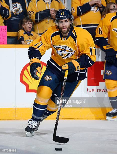 Patrick Eaves of the Nashville Predators skates in warmups prior to the game against the St Louis Blues at Bridgestone Arena on March 6 2014 in...