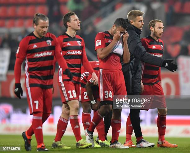 Patrick Ebert Marcel Gaus Marvin Matip and Moritz Hartmann of Ingolstadt walk towards their fans after loosing the Second Bundesliga match between FC...