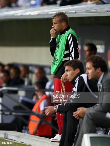 Patrick Ebert of Germany is seen at the bench during the UEFA European U21 Championship Final match between England and Germany at New Stadium on...