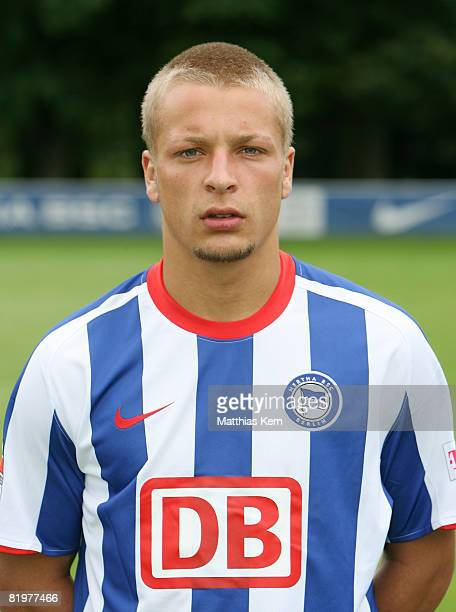 Patrick Ebert poses during the Hertha BSC Berlin Team Presentation on July 18 2008 in Berlin Germany