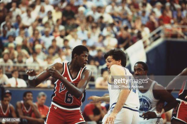 Patrick Ewing Dan Roundfield Kevin McHale Men's Basketball team playing at 1984 Olympics at the Los Angeles Memorial Coliseum