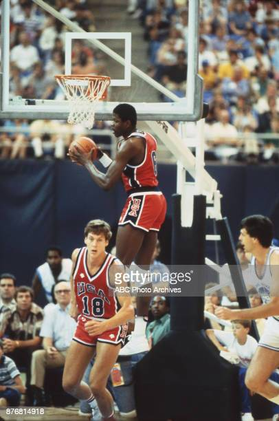 Patrick Ewing Jeff Turner Men's Basketball team playing at 1984 Olympics at the Los Angeles Memorial Coliseum