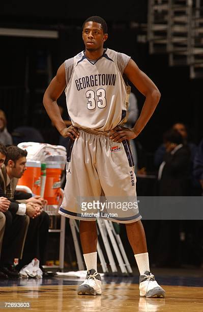 Patrick Ewing Jr. #33 of the Georgetown Hoyas during a college basketball game against the Oregon Ducks at Verizon Center on November 29, 2006 in...