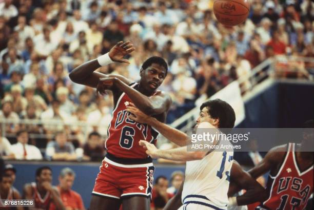 Patrick Ewing Kevin McHale Men's Basketball team playing at 1984 Olympics at the Los Angeles Memorial Coliseum