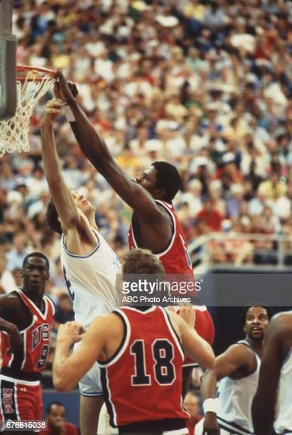 Patrick Ewing Michael Jordan Jeff Turner Men's Basketball team playing at 1984 Olympics at the Los Angeles Memorial Coliseum