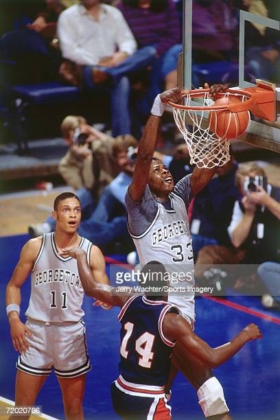 Patrick Ewing of Georgetown University shooting the ball in 1982 in Washington District of Columbia