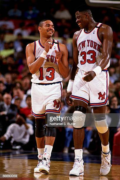 Patrick Ewing of the New York Knicks chats with teammate Mark Jackson circa 1990 at Madison Square Garden in New York New York NOTE TO USER User...