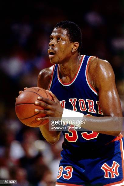 Patrick Ewing of the New York Knicks gets ready to take a freethrow against the Los Angeles Lakers during the NBA game at the Forum in Los Angeles...
