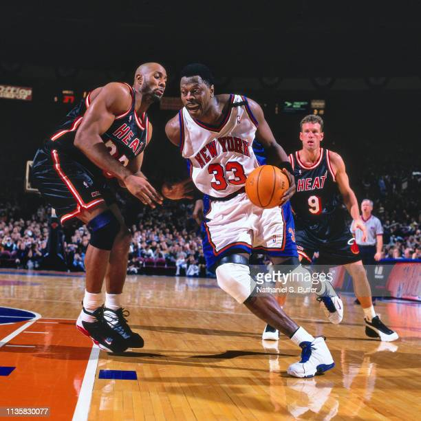 Patrick Ewing of the New York Knicks handles the ball against the Miami Heat on February 7 1999 at the Madison Square Garden in New York New York...