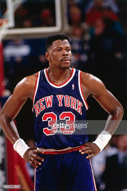Patrick Ewing of the New York Knicks looks on against the Sacramento Kings on January 12 1993 at the Arco Arena in Sacramento California NOTE TO USER...