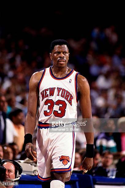 Patrick Ewing of the New York Knicks looks on in disgust during Game Four of the NBA Finals played on June 15 1994 at Madison Square Garden in New...