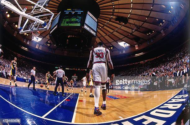 Patrick Ewing of the New York Knicks looks on in Game Five of the Eastern Conference Semifinals during the 1995 NBA Playoffs on May 17 1995 at...