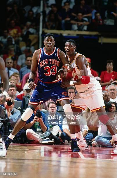 ea65bf8fe Patrick Ewing of the New York Knicks posts up against Hakeem Olajuwon of  the Houston Rockets