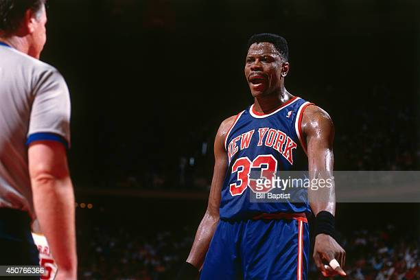 Patrick Ewing of the New York Knicks reacts to a call during Game One of the NBA Finals against the Houston Rockets on June 8 1994 at The Summit in...