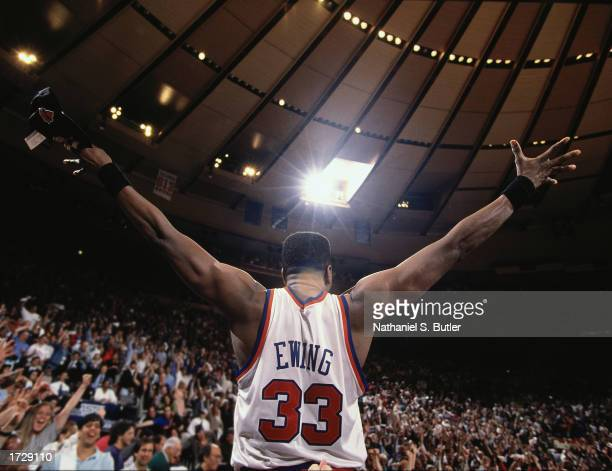 Patrick Ewing of the New York Knicks salutes the crowd during a 1994 NBA game at Madison Square Garden in New York, New York. NOTE TO USER: User...