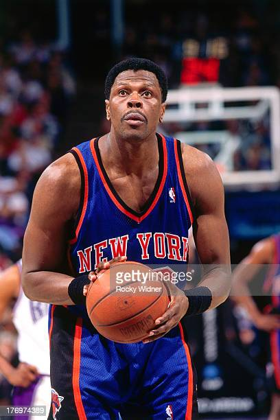 Patrick Ewing of the New York Knicks shoots the ball against the Sacramento Kings on February 28 1996 at Arco Arena in Sacramento California NOTE TO...