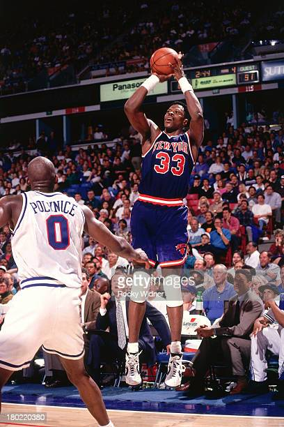 Patrick Ewing of the New York Knicks shoots the ball against the Sacramento Kings on March 1 1994 at Arco Arena in Sacramento California NOTE TO USER...