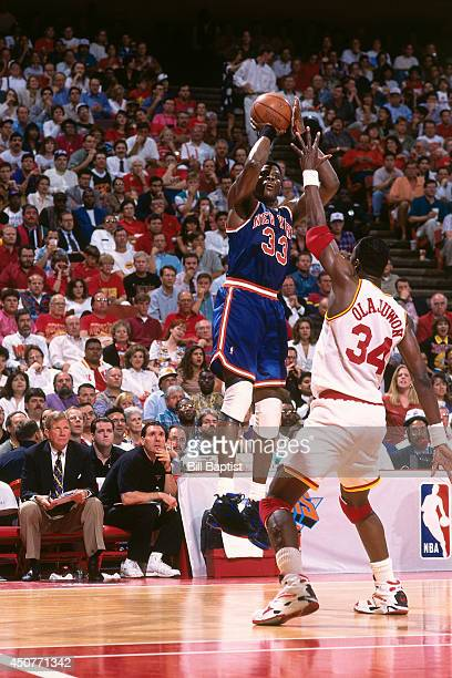 Patrick Ewing of the New York Knicks shoots the ball during Game Two of the NBA Finals against the Houston Rockets on June 10 1994 at The Summit in...