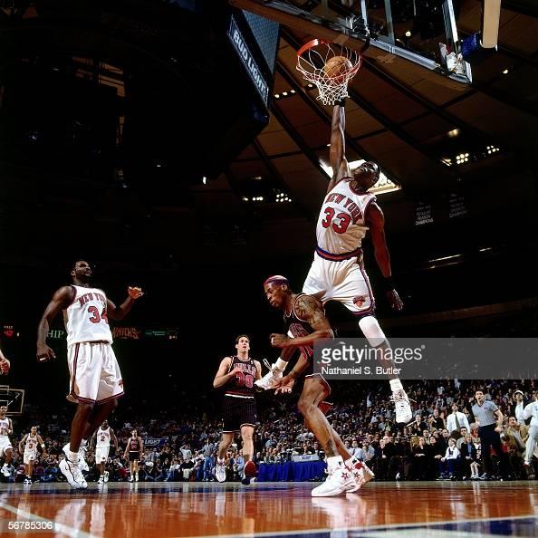 Patrick Ewing Of The New York Knicks Slam Dunks Against