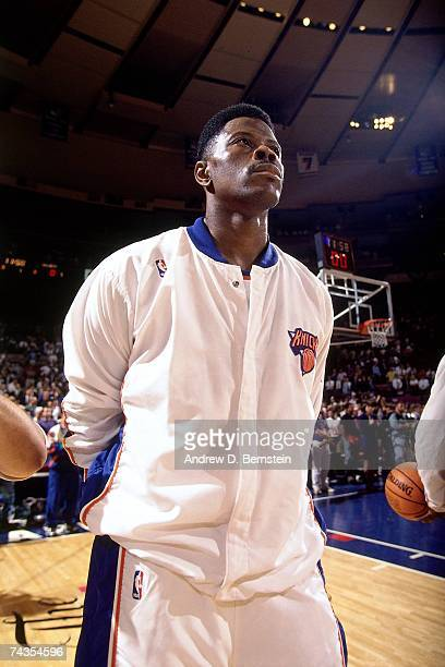 Patrick Ewing of the New York Knicks stands during the national anthem prior to Game Four of the NBA Finals played on June 15 1994 at Madison Square...