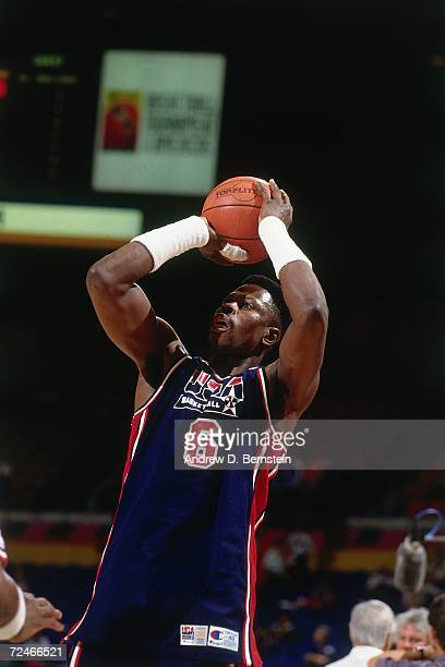 Patrick Ewing of the United States National Team shoots a jump shot during the1992 Summer Olympics in Barcelona Spain NOTE TO USER User expressly...