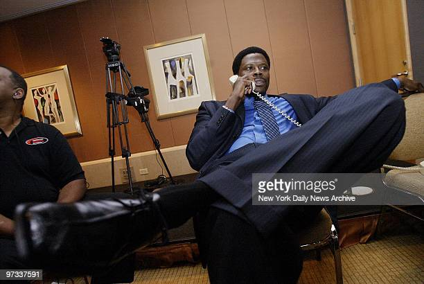 Patrick Ewing relaxes at the Four Seasons Hotel after he announced his retirement ending his 17year career as one of the NBA's greatest centers But...