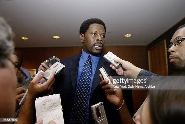 Patrick Ewing talks to reporters at the Four Seasons Hotel where he announced his retirement ending his 17year career as one of the NBA's greatest...