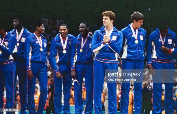 Patrick Ewing Vern Fleming Alvin Robertson Michael Jordan Joe Kleine Jon Koncak Men's Basketball medal ceremony the Forum at the 1984 Summer Olympics...