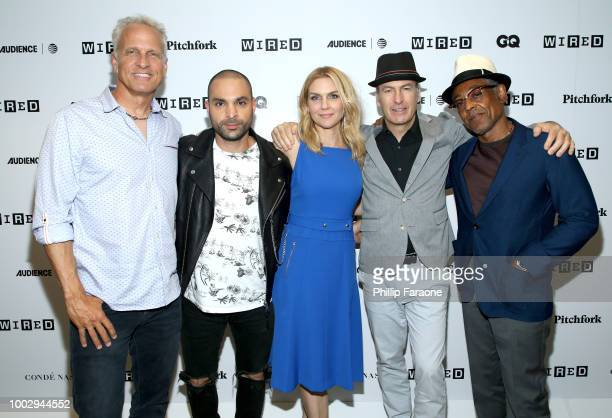 Patrick Fabian, Michael Mando, Rhea Seehorn, Bob Odenkirk, and Giancarlo Esposito of 'Better Call Saul' attend the 2018 WIRED Cafe at Comic Con...