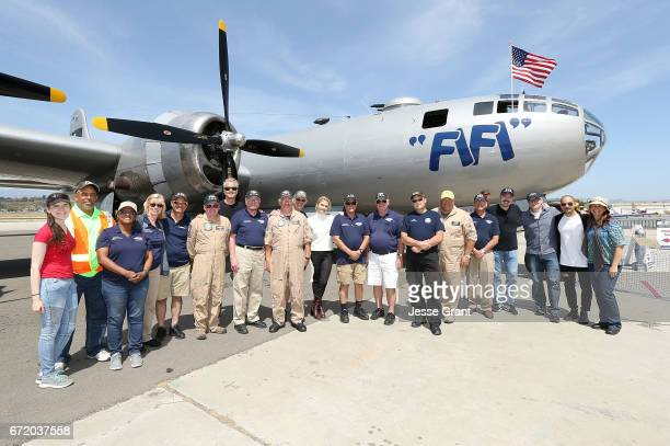 Patrick Fabian Rhea Seehorn Vince Gilligan Peter Gould and Micheal Mando pose for a photo with the Fifi B29 flight crew during the 'Better Call Saul'...