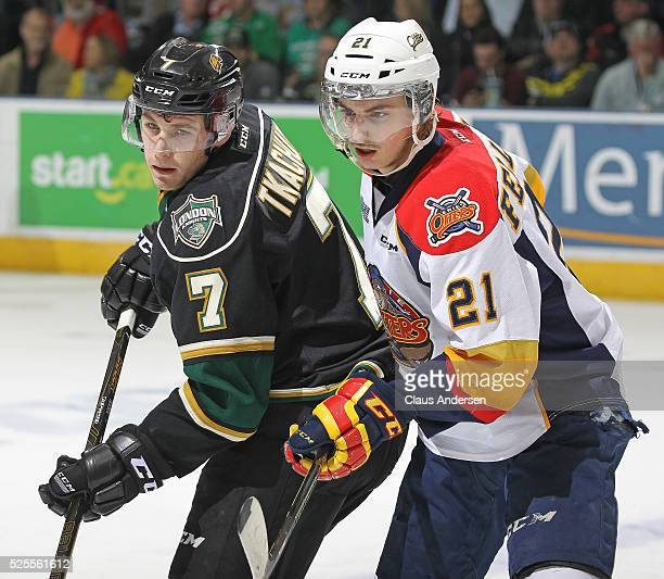 Patrick Fellows of the Erie Otters skates against Matthew Tkachuk of the London Knights during game four of the OHL Western Conference Final on April...