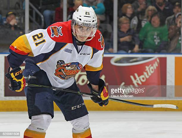 Patrick Fellows of the Erie Otters waits for a faceoff against the London Knights during game four of the OHL Western Conference Final on April 27...