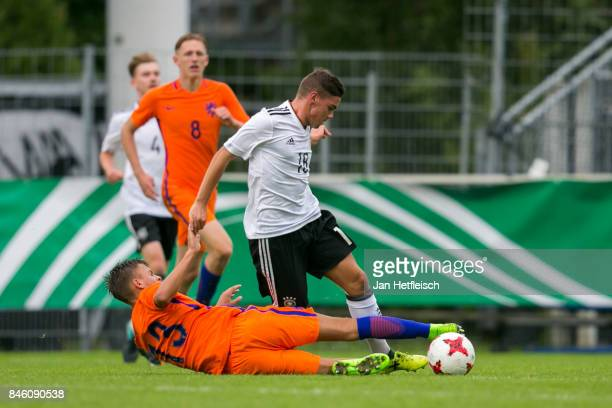Patrick Finger of Germany and Bram Franken of the Netherlands fight for the ball during the 'Four Nation' match between U17 Germany and U17...