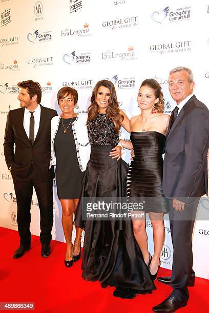 Patrick Fiori Karine Ferri standing with the family of Gregory Lemarchal his moter Laurence Lemarchal his father Pierre Lemarchal and his sister...